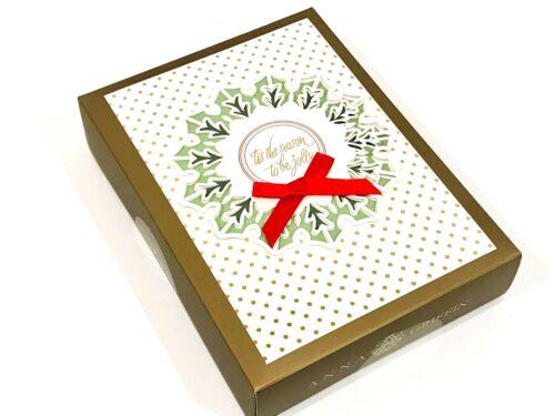 ANNA GRIFFIN HANDMADE HOLIDAY CARDS TIS THE SEASON WREATH SET OF 10 CARDS