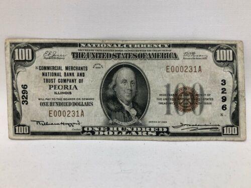1929 $100 Commercial Merchants National Bank & TC Peoria Illinois F/VF #3296