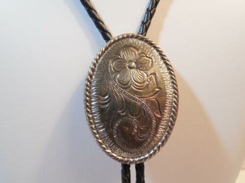 Buffalo Horse Silver Black Leather Bolo Tie ~ Silver Plate Etched Flower Slide