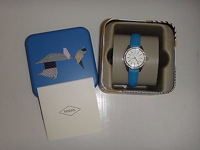 FOSSIL Womens Mini Watch Carissa BQ3147 Silver Steel Blue Leather Band Crystals
