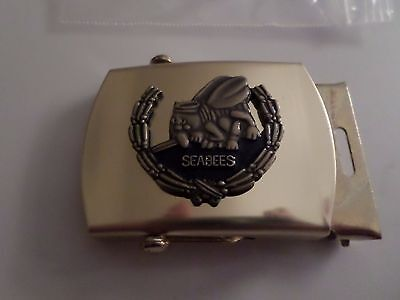 U.S MILITARY NAVY SEABEES SOLID BRASS BELT BUCKLE MADE IN THE (Navy Belt Buckle)