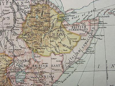 1919 LARGE MAP ~ AFRICA ~ BELGIAN CONGO RHODESIA ABYSSINIA TANGANYIKA CAPE TOWN