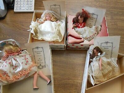 4 Fridays Child Storybook Bisque Dolls Boxes Papers Queen Hearts Brunette Blonde
