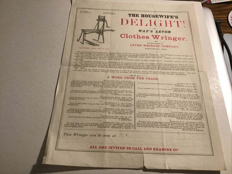 Way's Lever Clothes Wringer Springfield OH 1870s Advertising Flier Broadside