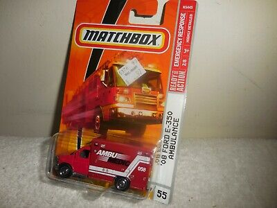 2009 MATCHBOX EMERGENCY RESPONSE RED `08 FORD E-350 AMBULANCE  # 55