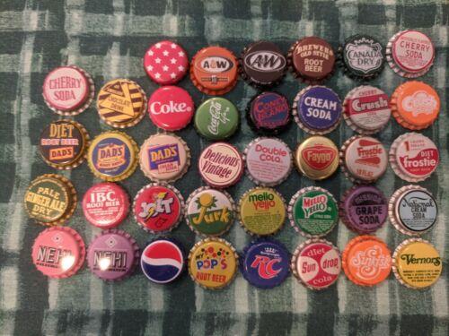 100 VINTAGE SODA BOTTLE CAPS 38 DIFFERENT VARIETIES + 10 BONUS CAPS