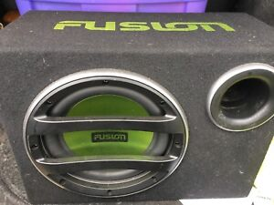 """10"""" fusion sub woofer with amp mounted on the back"""