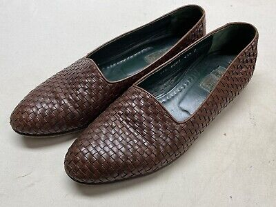 Gucci Vintage Loafers 10.5 / 43.5 Woven Leather Slippers Made in Italy