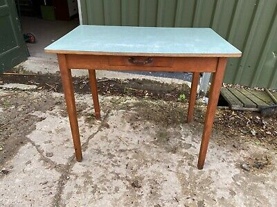 Vintage 1950's 60's Wooden Kitchen Table Blue Formica Top Small Drawer Desk