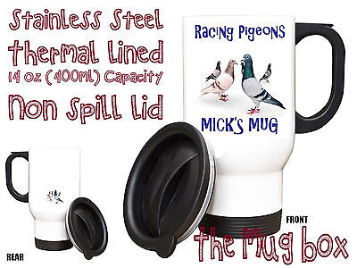 Racing Pigeon Personalised Thermal Travel Mug.(H008)