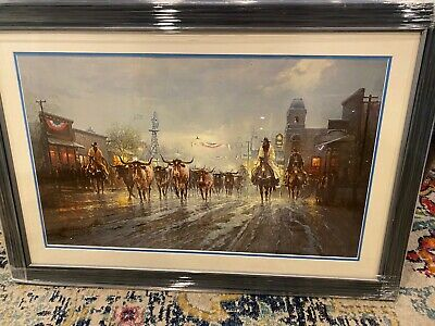 G. Harvey Cowboys Payday signed print limited edition to 604/1250 framed matted