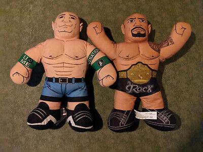 "WWE THE ROCK + John Cena Plush Talking 2012 Brawlin Buddies 16"" Dwayne Johnson"