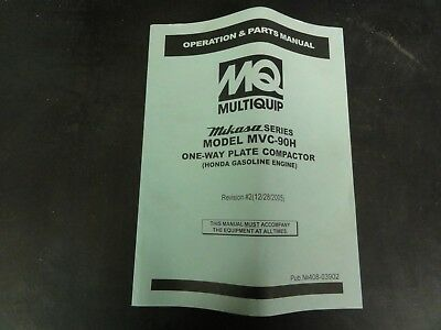 Multiquip Mikasa Series Model Mvc-90h One Way Plate Compactor Parts Manual