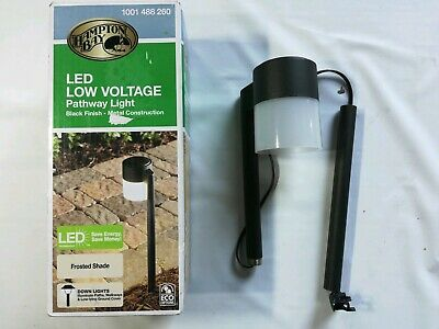 Hampton Bay Low-Volt 10W Black LED Path Light Frosted Cylinder Glass