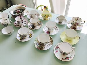Bone china tea cups and saucers, made in England