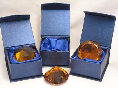 Glas Diamant 3 Stück in Geschenkbox 5 cm Goldfarben, 70 Facetten