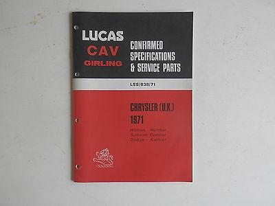 LUCAS Parts List 1971  HILLMAN HUMBER SUNBEAM COMMER DODGE KARRIER Chrysler