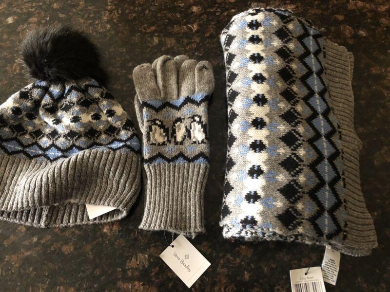 New Set Of 3 Vera Bradley Blue Playful Penguin Jacquard Gloves Scarf Pom Pom Hat