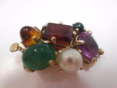 Vintage 14k Solid Gold Multi Gemstone Clasp for Double Strand Bracelet Necklace