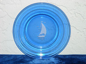 Ships Sailboat Sportsman Series Sherbet Plate  Cobalt Blue