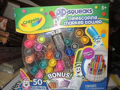 Crayola 588750 Telescoping Pip-squeaks Marker Tower, Assorted Colors, 50/set