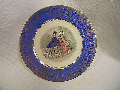 Service Rim Plate ( Old Imperial Salem China Service Plate Blue W/ Victorian Women & 23K Gold Rim)