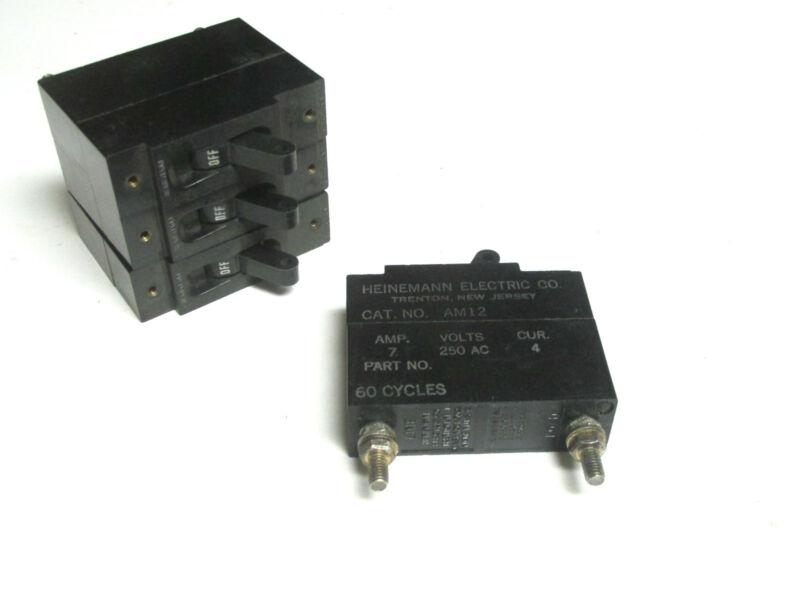* Heinemann Circuit Breakers Cat# AM12 ..125V, 7A  (Lot of 4) .. VM-6D