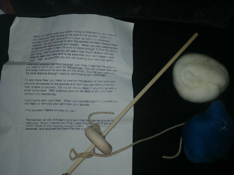 Yarn Winder   Fiber Spinner Natural Wood Spindle  w yarn learn to spin yarn