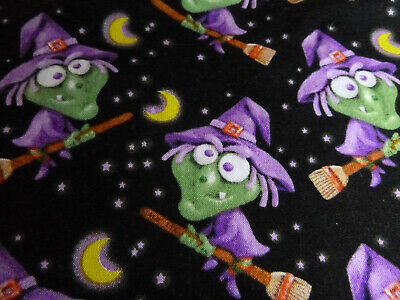 HALLOWEEN WITCH ON BROOM  DAVID TEXTILES 1 YD OF 42 INCH COTTON FABRIC