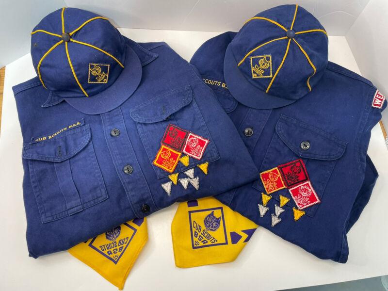 2 Boy Cub Scout blue shirt short sleeve BSA Scouts Patches Hat Neckerchief