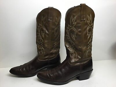 VTG MENS ACME TEXAS COWBOY LEATHER BROWN BOOTS SIZE 8.5 EW