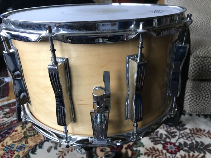 """Vintage Circa 1980 Ludwig 8"""" by 14"""" 10-lug Classic Clear Maple Snare Drum"""