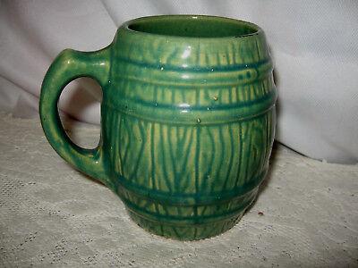 VINTAGE 1929 MC COY POTTERY GREEN BARREL MUG MARKED~~#4 Inside a Shield  (Green Barrel Mug)