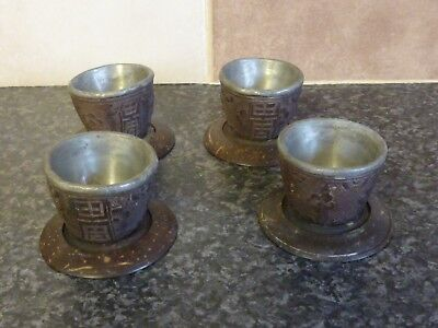 VINTAGE SET OF 4 ORIENTAL HIGHLY DECORATED LEAD LINED TEA BOWLS & STANDS VGC