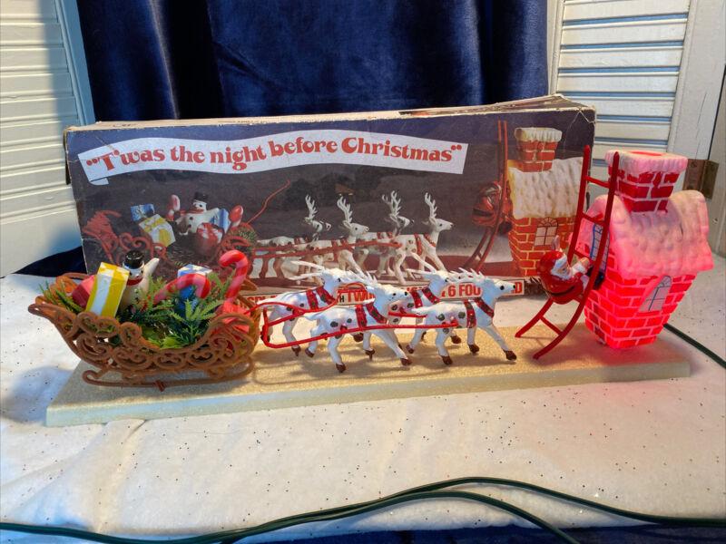 Vintage Plastic Christmas Santa on Sleigh & Reindeer Display Electric Display