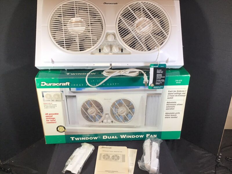 Vintage Rare Duracraft 1995 Dual Window Fan Twindow DW-628 in Box~accessories.
