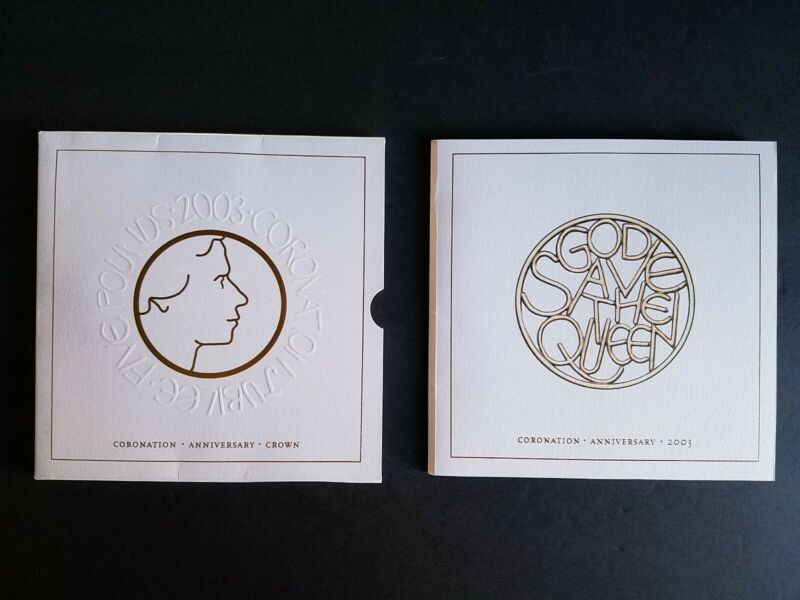 2003 Coronation Jubilee Five Pounds Uncirculated  £5 Coin in Royal Mint Folder