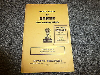 Hyster D7n Towing Winch For Cat D7 Tractor Parts Catalog Manual Book