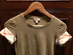 Burberry Check Cuff T Shirt - khaki
