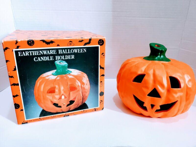 Vintage Earthenware Halloween Candle Holder Jack o Lantern Pumpkin Decoration