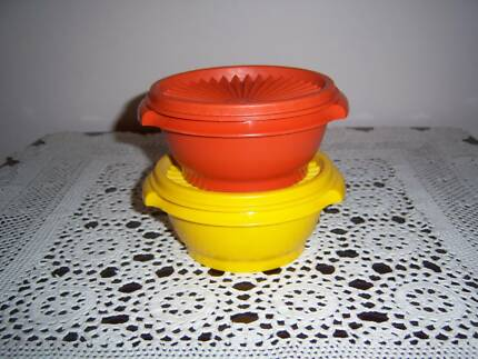 Tupperware Vintage Canister Container Press Seal Orange / Yellow East Cannington Canning Area Preview