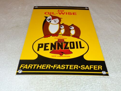 "VINTAGE PENNZOIL BE OIL WISE +3 OWLS 16"" X 11"" PORCELAIN METAL GASOLINE OIL SIGN"