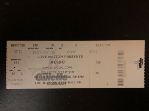 AC/DC  UNUSED Ticket Stub 2009 Tour