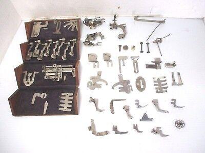 Vtg. Wooden Oak Puzzle Box for Sewing Machine Attachments Patent 1889 Plus Tools