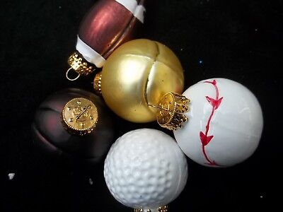 Lot 5 Sports Balls Christmas Tree Ornaments Baseball Football Tennis Golf Basket - Football Christmas Ornaments