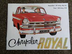 1959 CHRYSLER ROYAL AP2 BROCHURE ''RARE RHD AUST VERSION