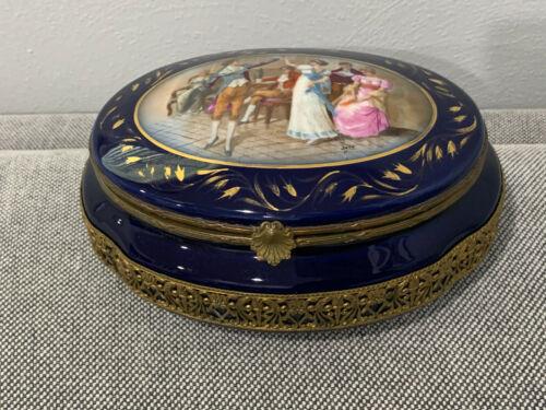 Vintage Antique Sevres Style French Porcelain Dresser Box w Figures & Floral Dec