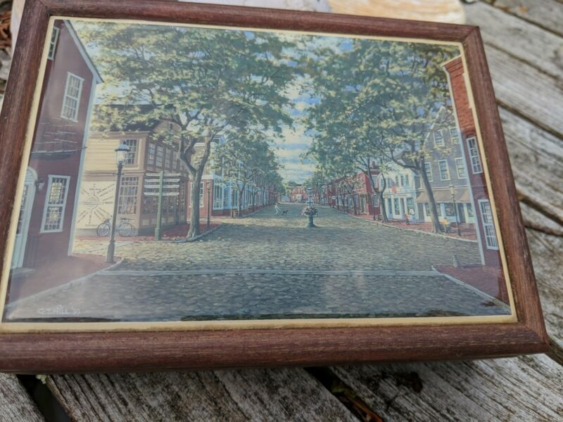 Vintage 1993 G.S. Hill Main Street Nantucket Trinket Wooden Storage Jewelry Box