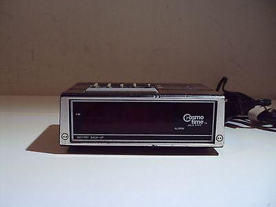 Vintage COSMO TIME Digital LED Alarm Clock, Model E521, Faux Wood Panel