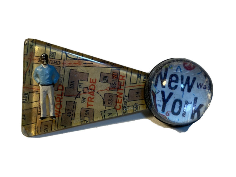 Vintage unique new york map pin brooch still life